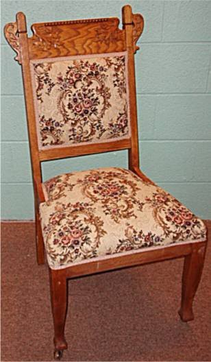 2003: Carved Crested Victorian Oak Armless Chair