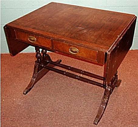 2007: Mahogany Dropleaf Carved Legged Table