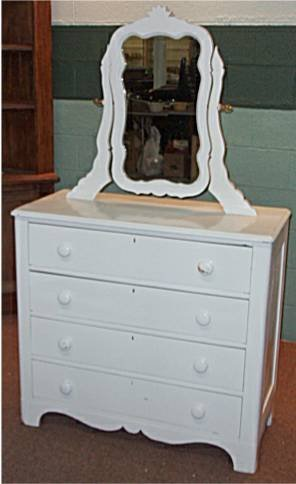 2009: Painted White Four Dr. Dresser with Harp Mirror