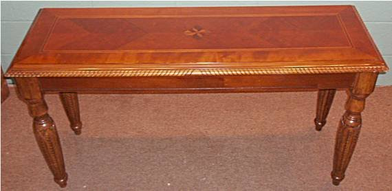 2010: Contemporary Inlaid Sofa Table with Carved Legs