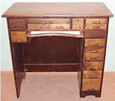 2019: 15 Drawer Clerks/Clock Makers Desk, Walnut