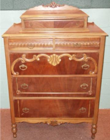 2022: Ornate Walnut Dresser with Hanky Drawer Crowned