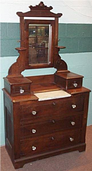 2103: 1800's Walnut Marble Insert Victorian Dresser wi