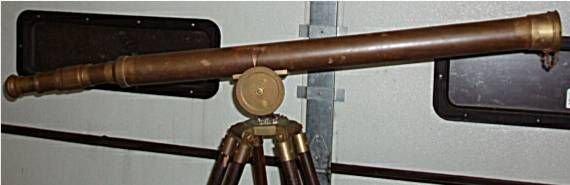 2021: Brass & Copper Telescope on Tripod, 65H x 39L, Tr