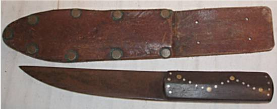3008: Indian Knife with Sheath, 9 1/2 Long