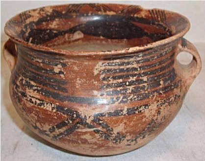 3022: Pre Columbian Straphandle Bowl, 4 1/2 x 3 1/4