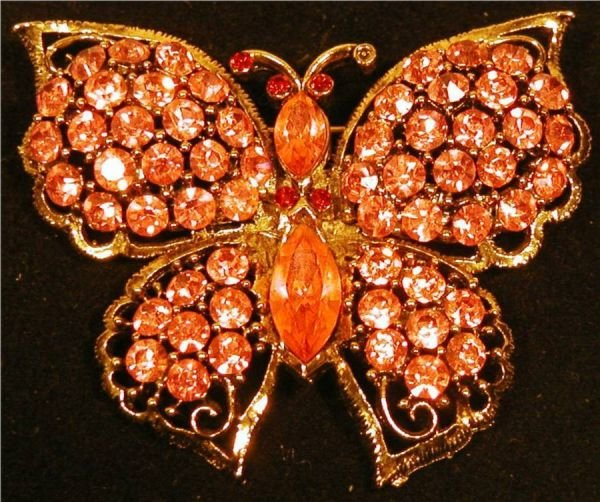 4006: Weiss Pink Rinestone Butterfly Pin , 2 1/2 W x 1