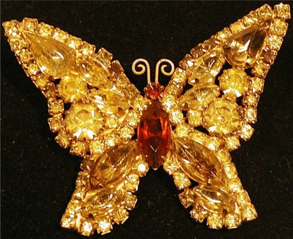 4011: Weiss Citrine Colored Rhinestone Butterfly Pin