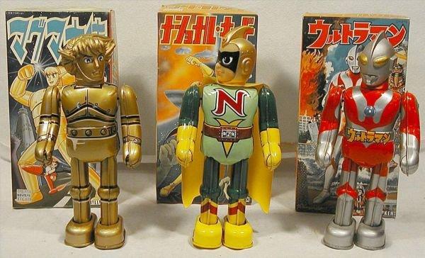 """4004: Lot of Three Billiken Robots Made in Japan. 9"""" H"""