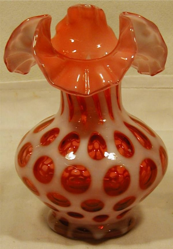 4013: Fenton Cranberry Coin Dot Ruffled Edge Vase