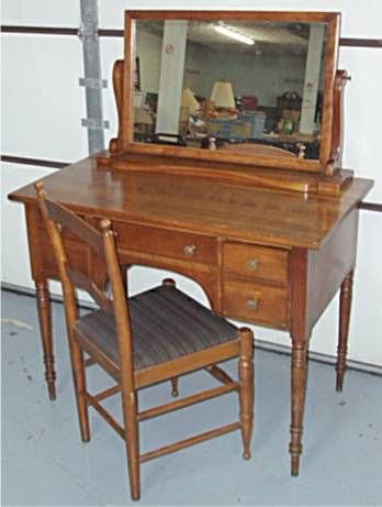 4002: Signed Stickley Cherry Dressing Table with Mirror