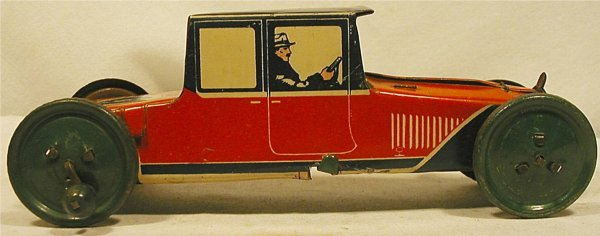 "3018: 8 1/2"" Tin Litho Sedan with Unusual Wind-up Rear"