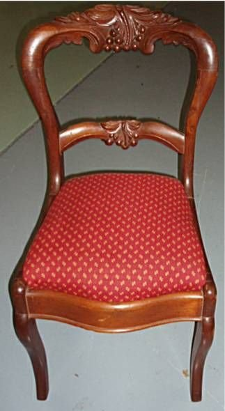 3010B: Cherry Carved Crested Back Victorian Chair, 37""