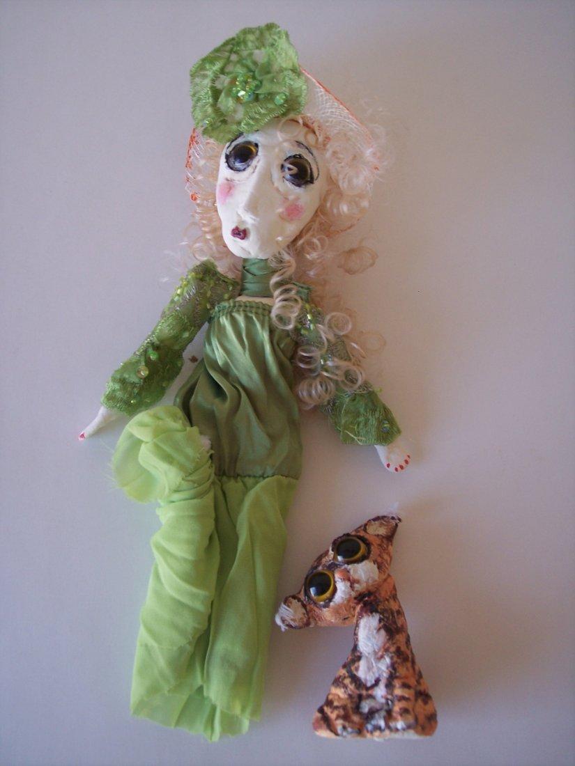Rare Handmade Doll and Cat