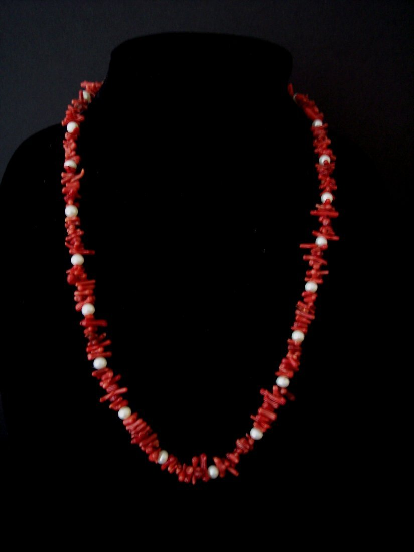 Coral Branch Bead Necklace