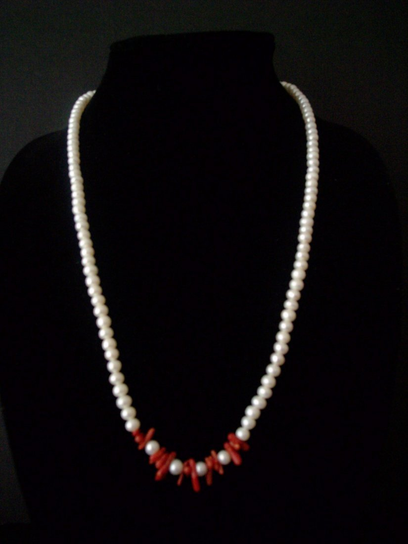 Coral Branch and FW Pearl Necklace