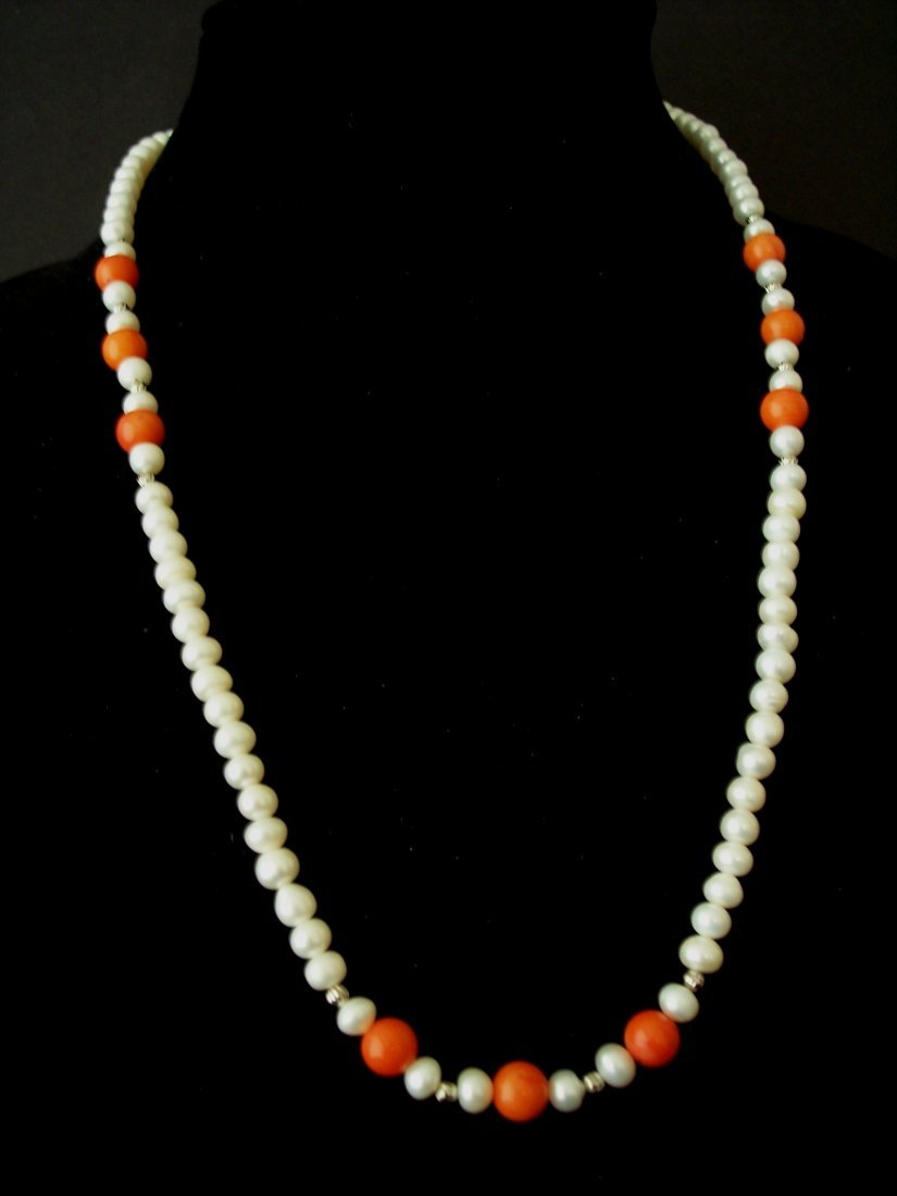 Coral Bead and FW  Pearls