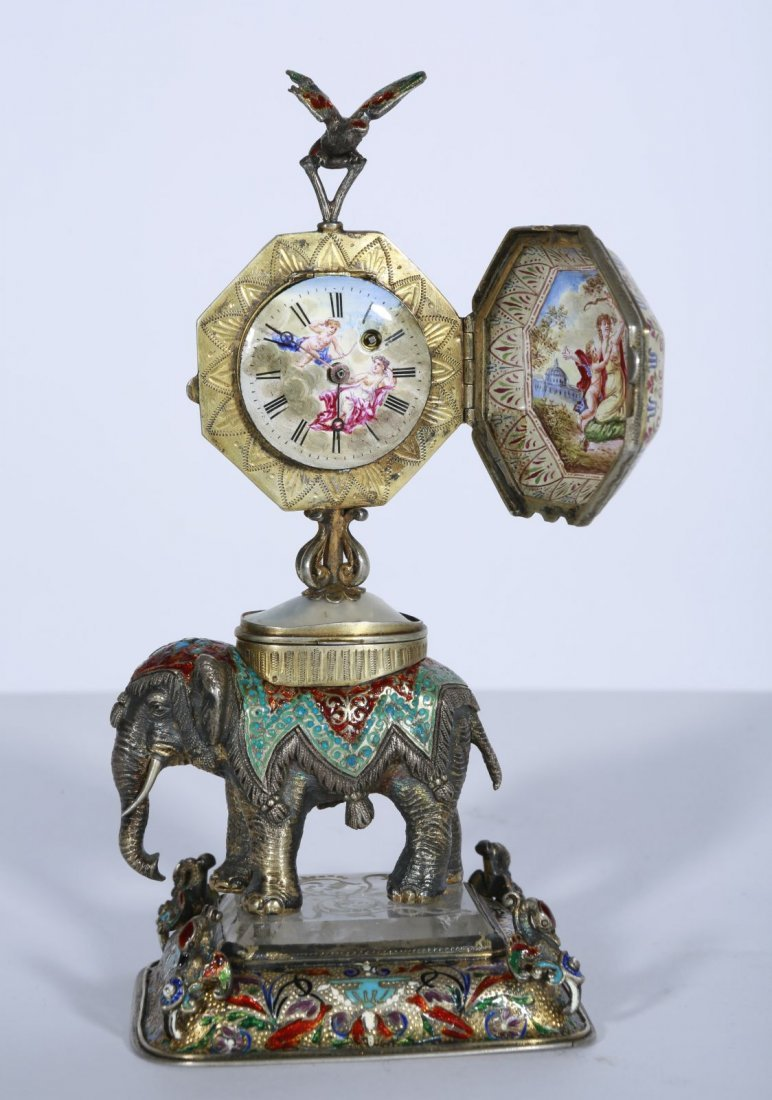 Viennese enamel clock on elephant
