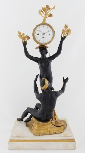 Rare Vienna Empire Clock - Apollo And Daphne