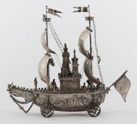 A German Silver Ship Model