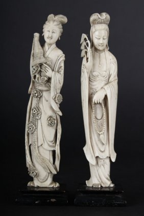 Paired Decorative Ivory Sculpture