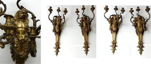 Important Set 4 Large Henry Dasson Gilt Bronze Sconces