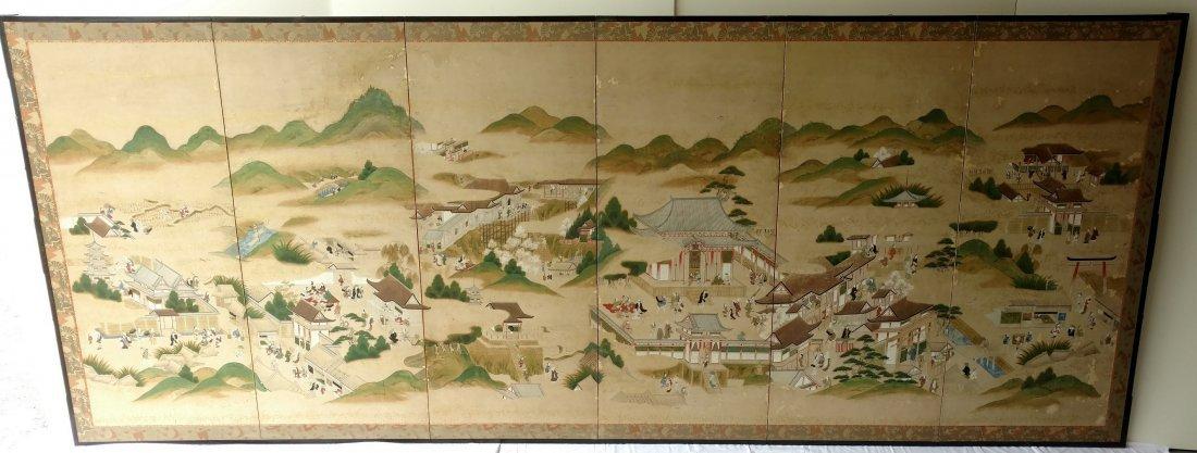 Large Japanese Early Kyoto Kano 6 Panel Byobu Screen