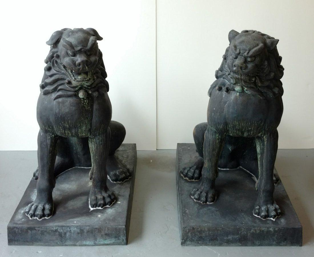 Pr 400lb 3ft Bronze 20C Japanese Temple Foo Dog Statues