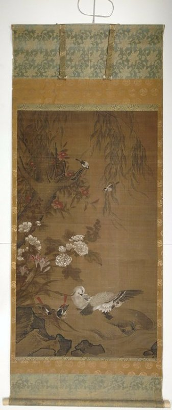 Large 4ft Image Antique Japanese Meiji Scroll Painting