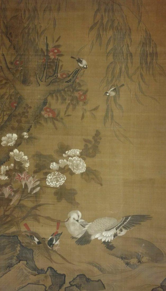 Large 4ft Image Antique Japanese Meiji Scroll Painting - 2