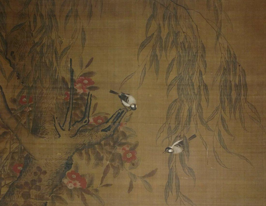 Large 4ft Image Antique Japanese Meiji Scroll Painting - 3