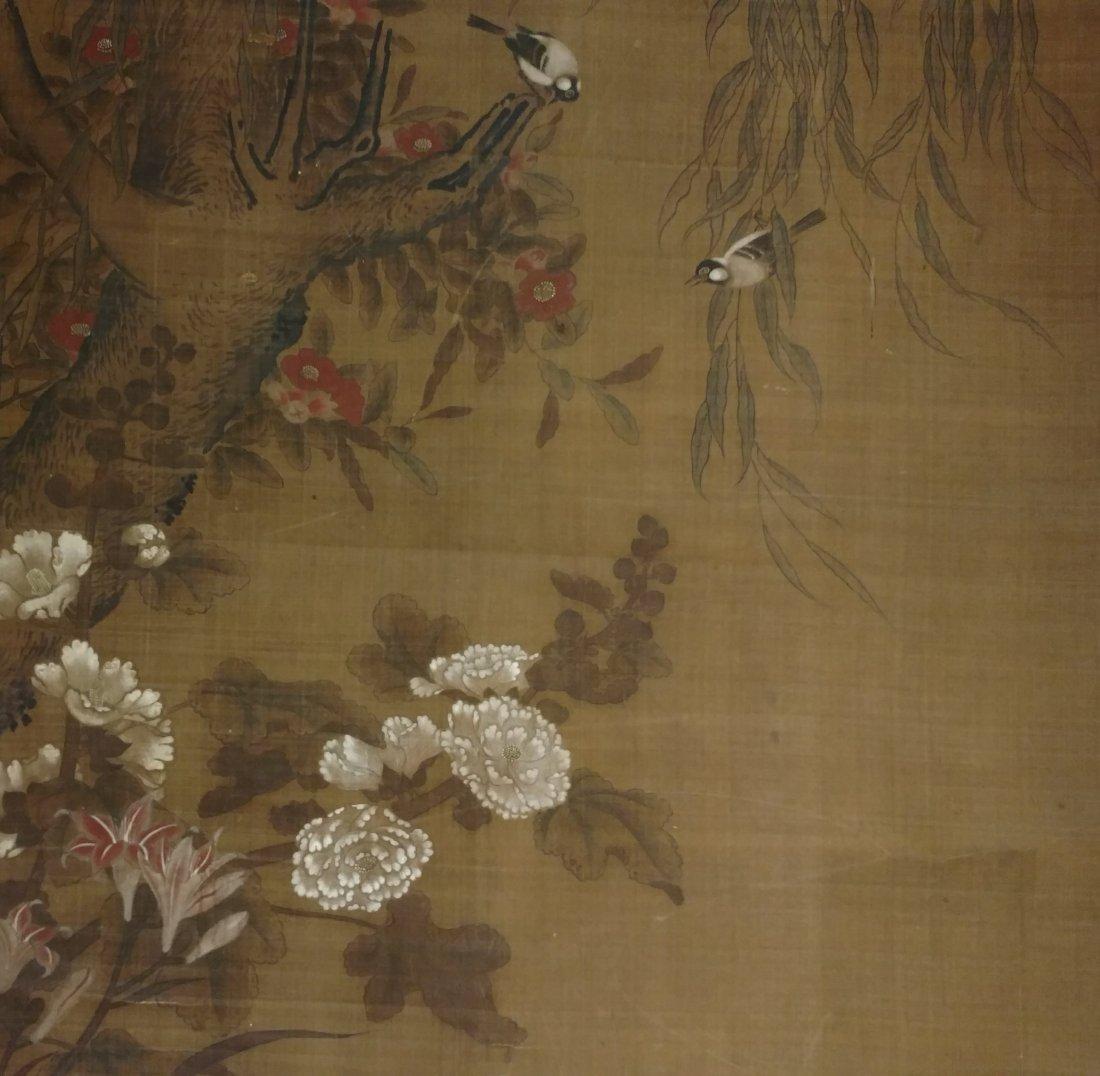 Large 4ft Image Antique Japanese Meiji Scroll Painting - 4