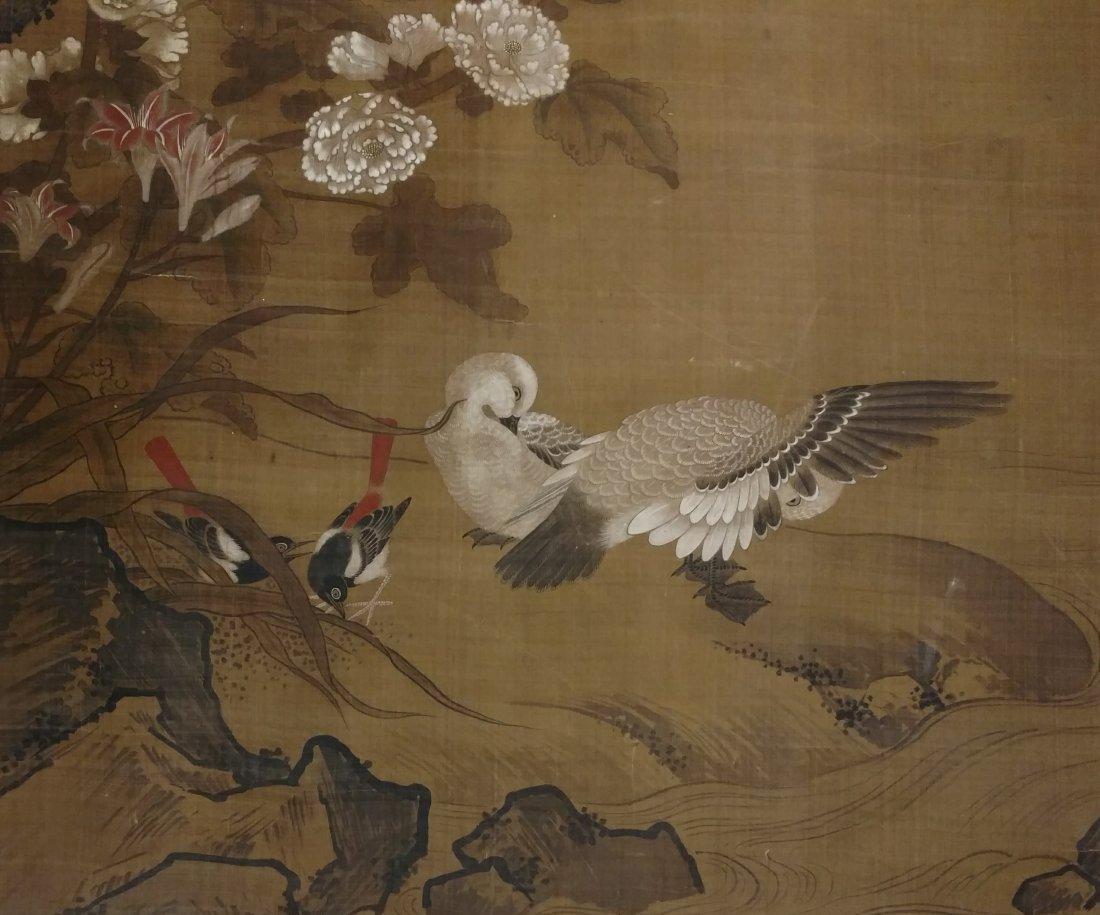 Large 4ft Image Antique Japanese Meiji Scroll Painting - 5