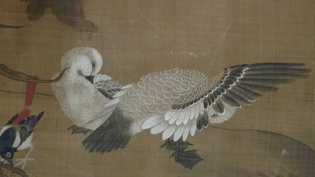 Large 4ft Image Antique Japanese Meiji Scroll Painting - 6