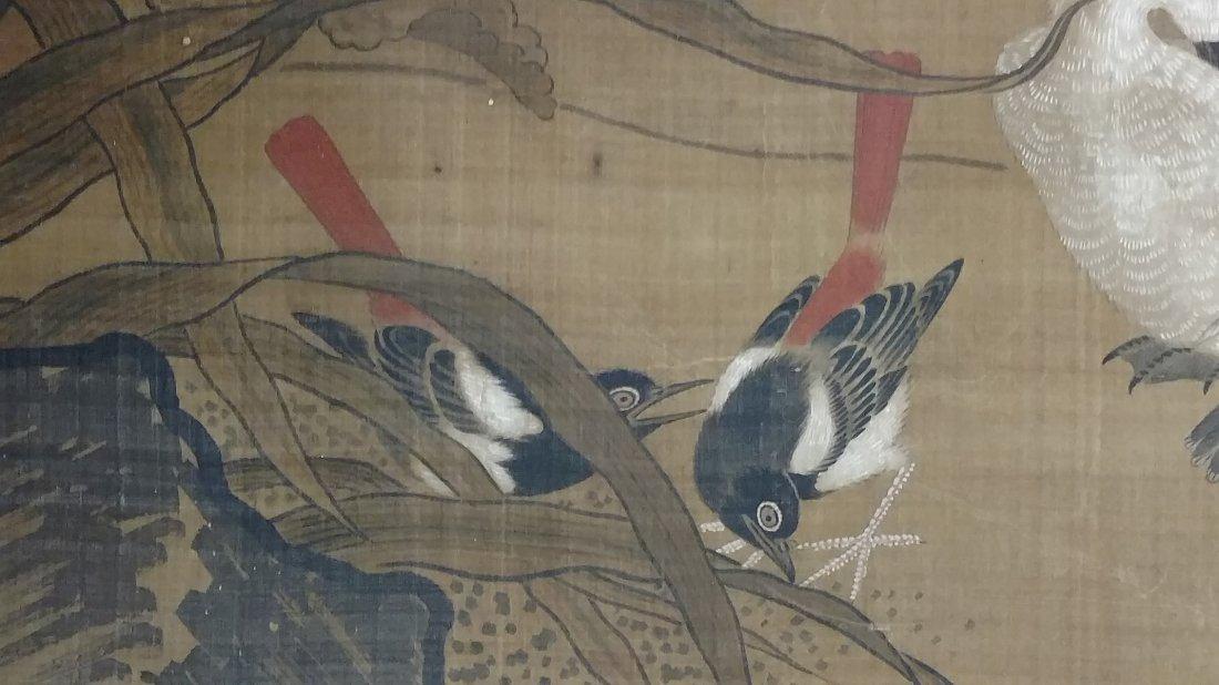 Large 4ft Image Antique Japanese Meiji Scroll Painting - 7