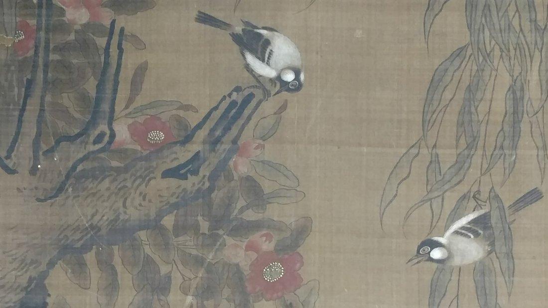 Large 4ft Image Antique Japanese Meiji Scroll Painting - 8