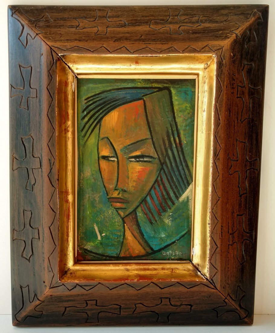 Angel Botello Portrait of a Woman with Carved Frame