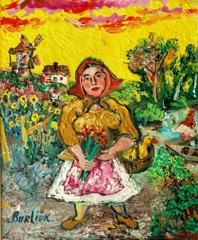 David Burliuk Woman with Flowers and Duck 1953-1958