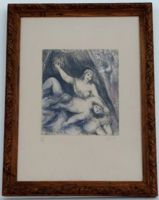 Marc Chagall Samson and Delilah 1956 Colored Etching