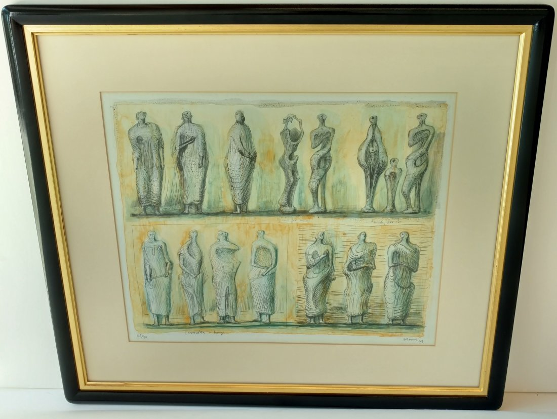 Henry Moore 1949 Signed Numbered Color Lithograph