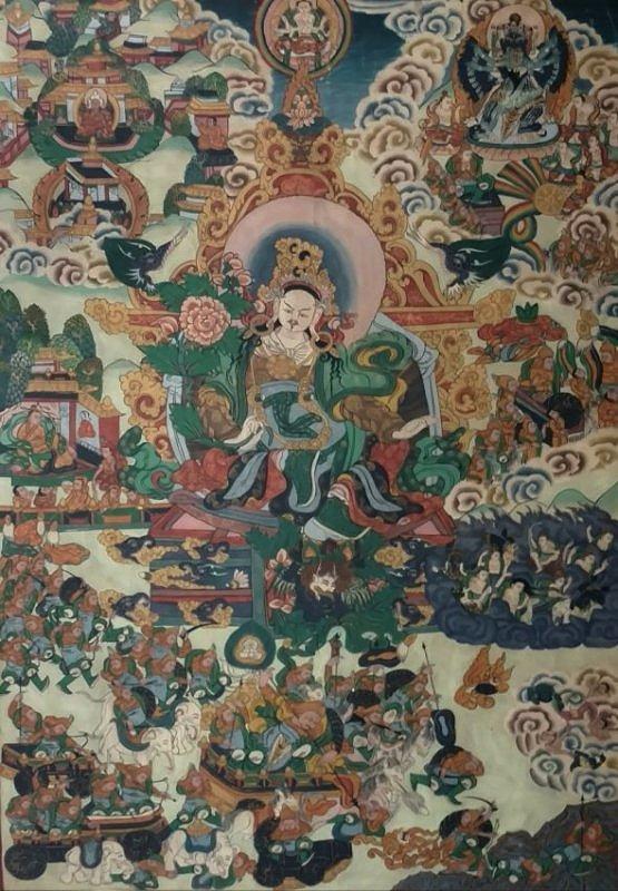 Antique Silk Chinese Qing or Tibetan Thangka