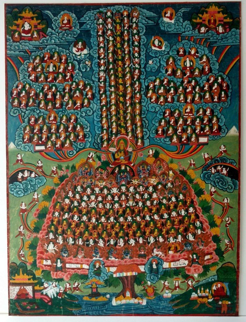 Old Tibetan Thangka with Fine Detail