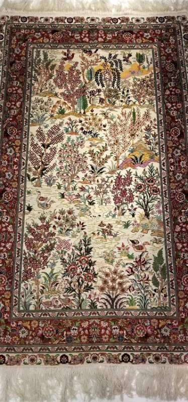 Silk 3x5 Hereke Ducks on Lake Persian Carpet