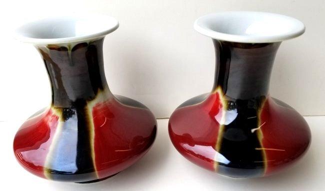 Lg Pair Signed Jingdezhen Zhi Chinese Vases