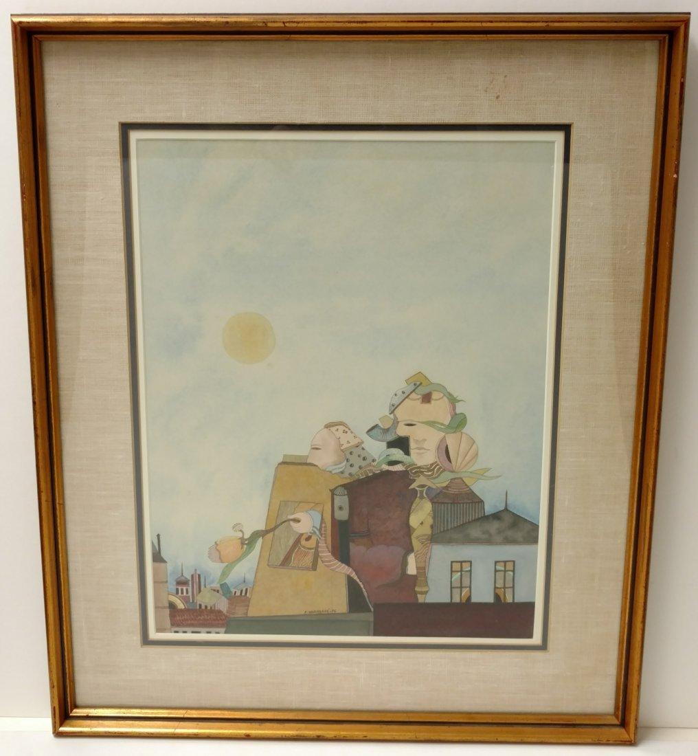 Elie Eliahu Abrahami 1976 Surrealist Watercolor