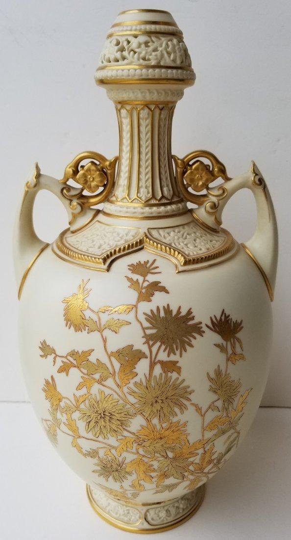 Lg Royal Worcester Pierced Vase Artist Signed