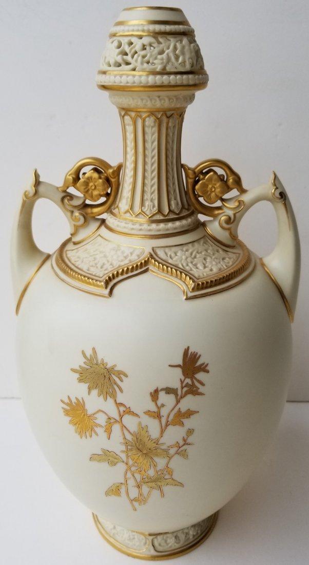Lg Royal Worcester Pierced Vase Artist Signed - 2