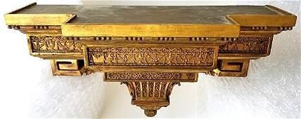 French Empire Neoclassical Gilt Shelf