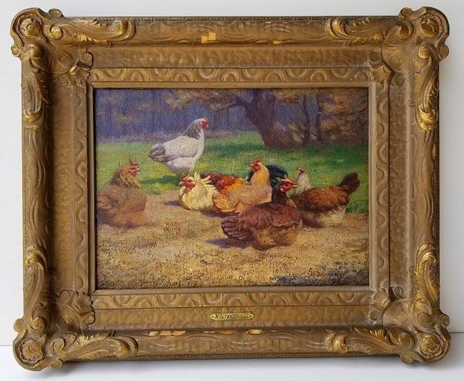 Walter Douglas Farm Chickens Genre Painting