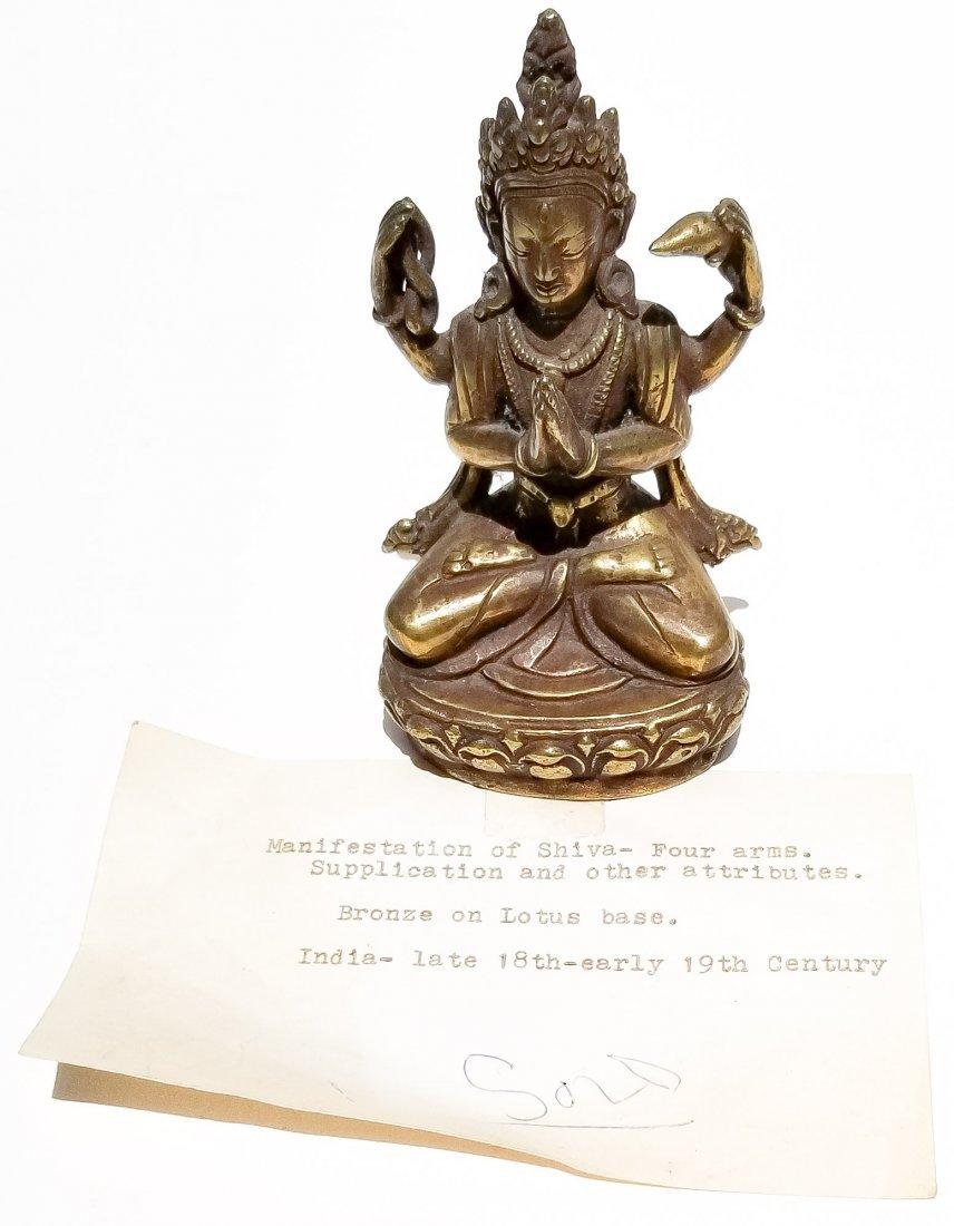 Indian 18C 19C Shiva Gilt Bronze Statue C